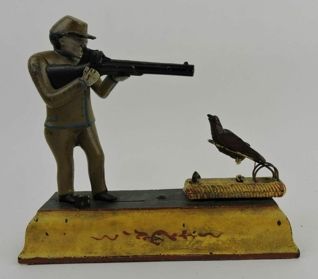 Fowler Sportsman mechanical bank by J. & E. Stevens, estimated at $1,500-$2,000