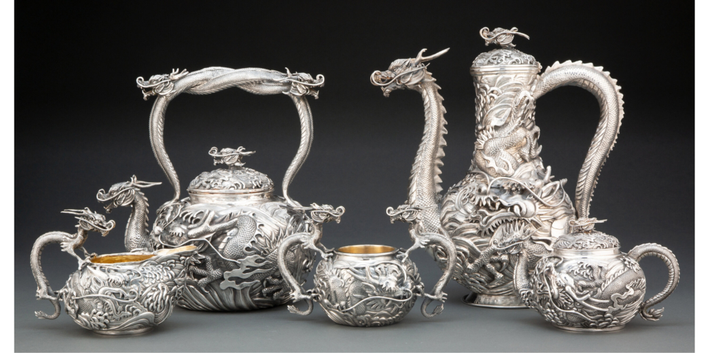 Five-piece Japanese dragon-form coffee service, which sold for $37,500