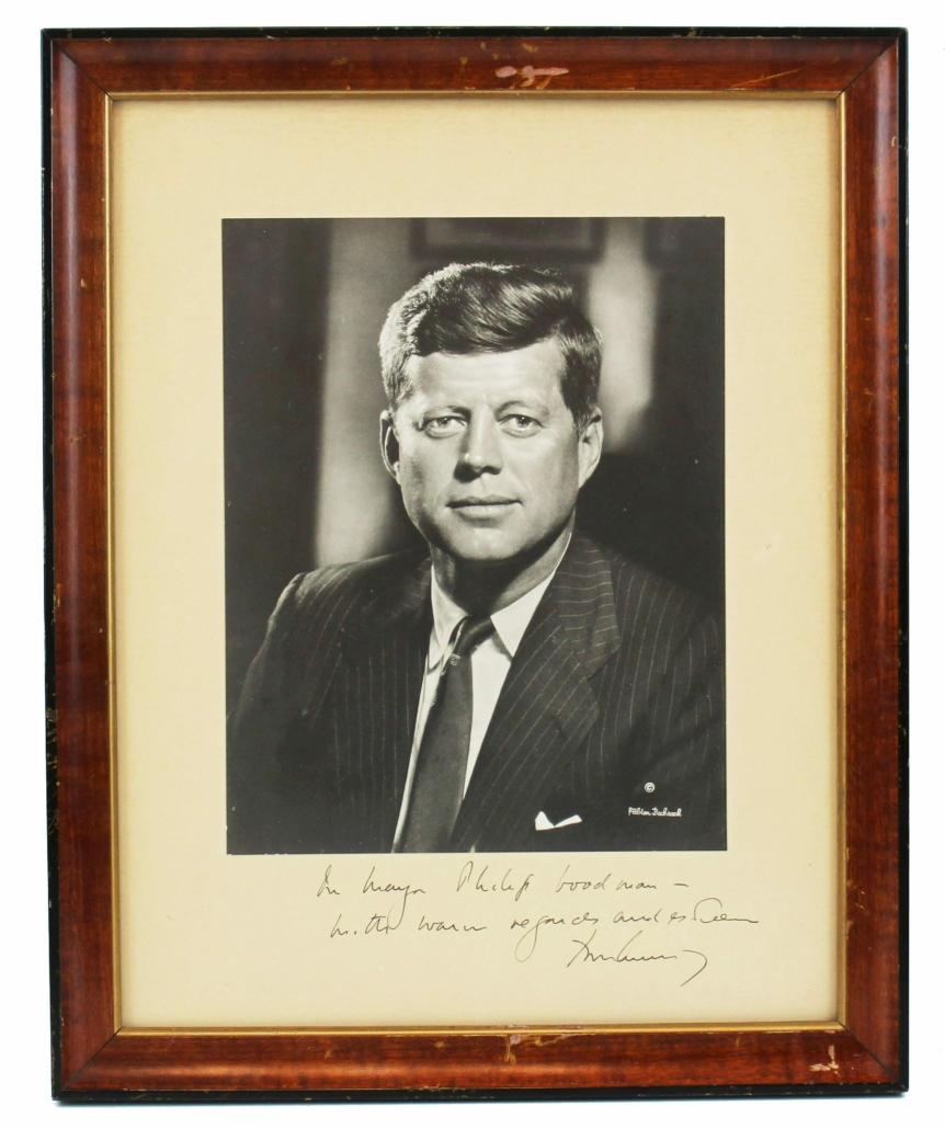 John F. Kennedy-signed and dedicated black and white photograph, estimated at $3,000-$3,500