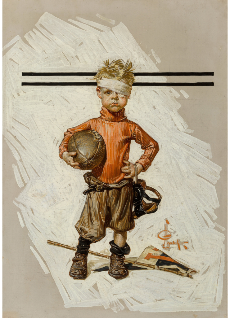 J.C. Leyendecker's 1914 cover illustration, 'Beat-up Boy, Football Hero,' sold for $4.12 million and a world auction record for the artist.