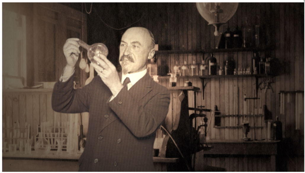 Leo Baekeland in his laboratory, as depicted in a photomontage by Marty Fegy
