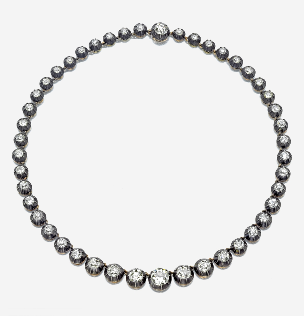 Diamond riviere necklace with old mine-cut stones, estimated at $25,000-$35,000