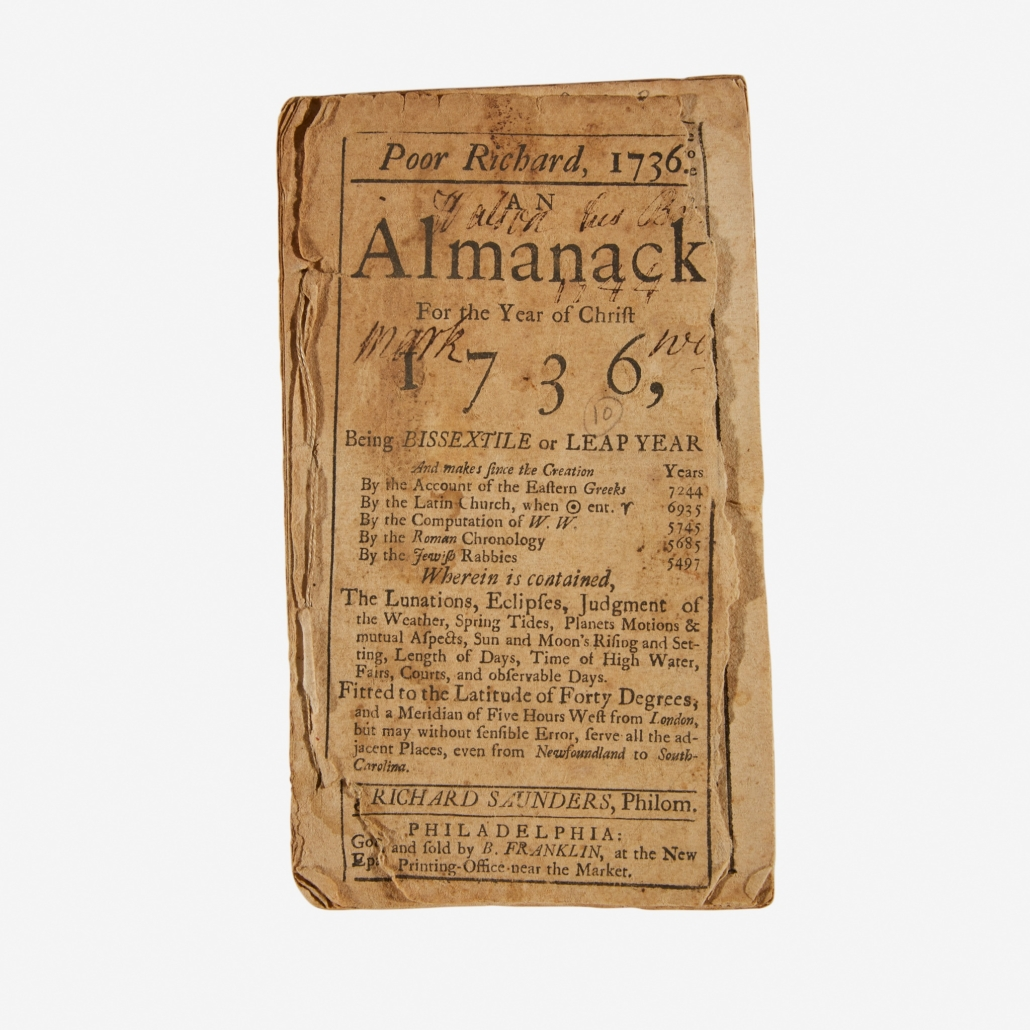 1736 copy of Poor Richard's Almanack, which sold for $17,640