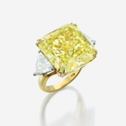 Fancy light yellow diamond ring, which sold for $308,700