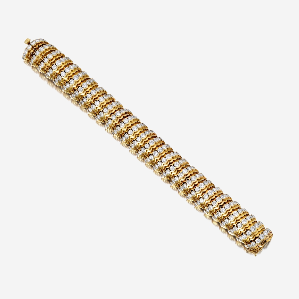 Van Cleef & Arpels 18K gold and diamond bracelet, which sold for $56,700