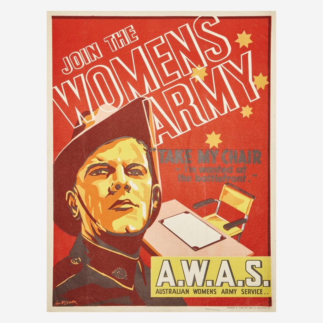 Selection from a group of 16 WWII posters featuring women, which sold for $4,725