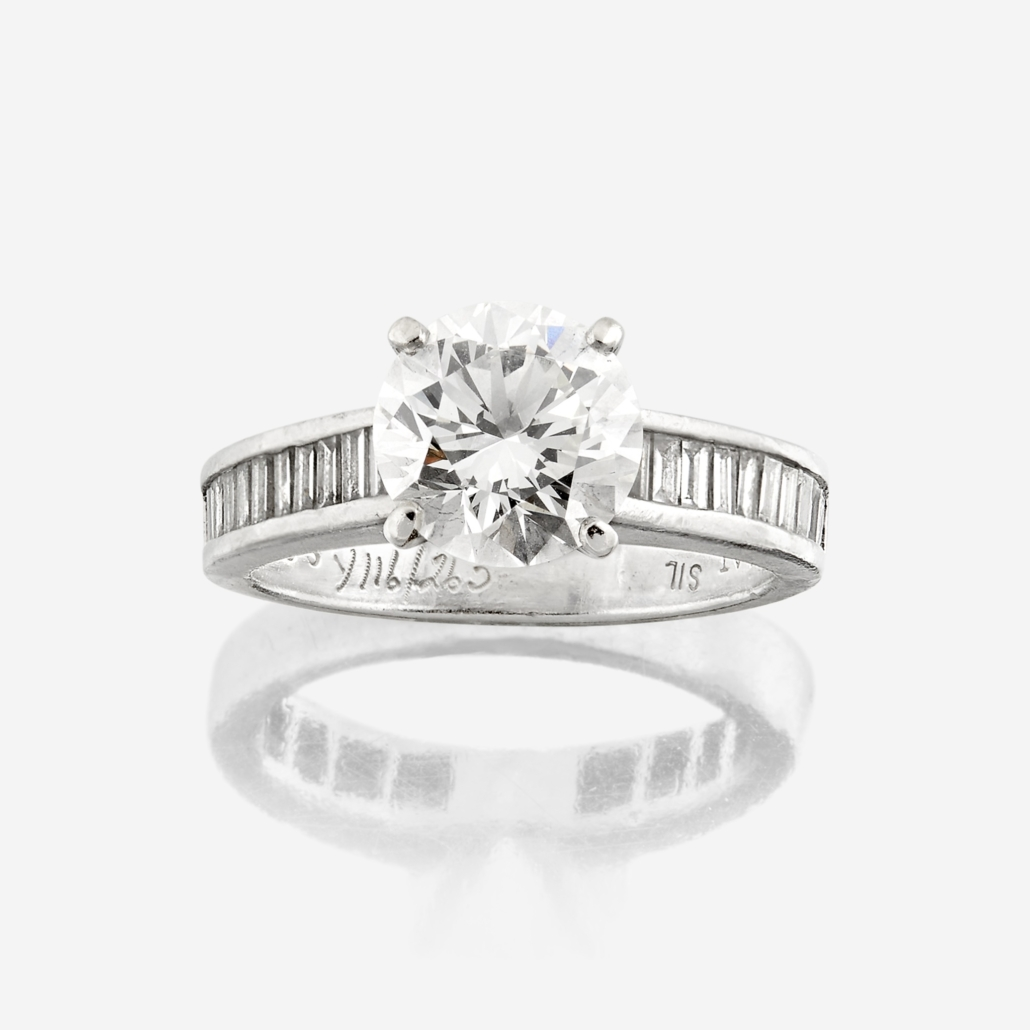 Diamond solitaire ring, which sold for $25,200