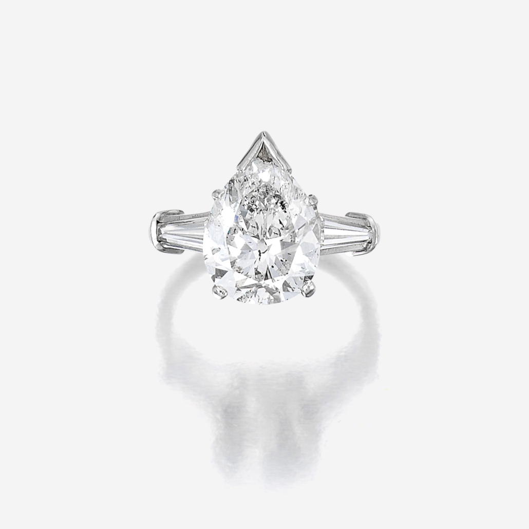 Pear-shaped diamond solitaire ring, which sold for $13,860
