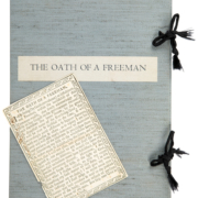 'The Oath of a Freeman,' made by the infamous forger Mark Hofmann, will be offered for sale with the slipcover the Library of Congress created for the document while it was considering whether to acquire it. Hofmann confessed to the forgery in 1987.