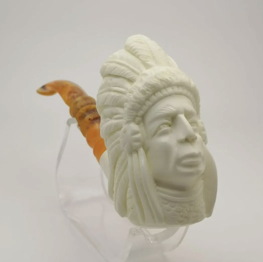Meerschaum pipe carved to resemble a Native American chief, estimated at $100-$120