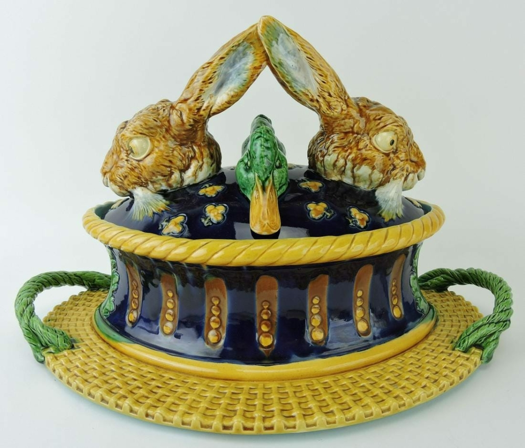 Minton majolica game tureen and cover, estimated at $25,000-$35,000
