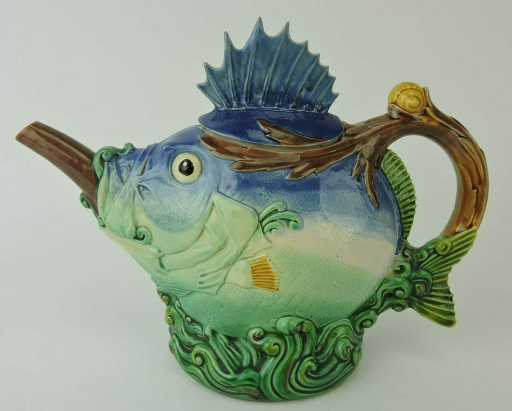 Minton majolica blowfish teapot and cover, estimated at $10,000-$15,000