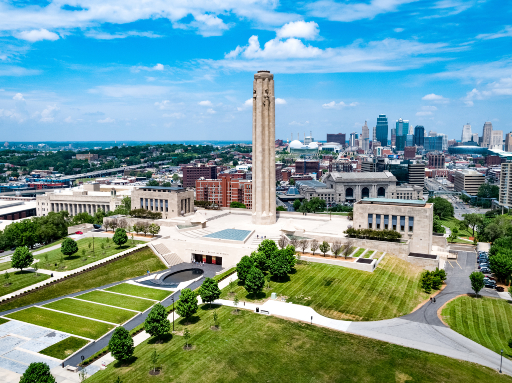 Exterior view of the National WWI Museum and Memorial in Kansas City, Missouri