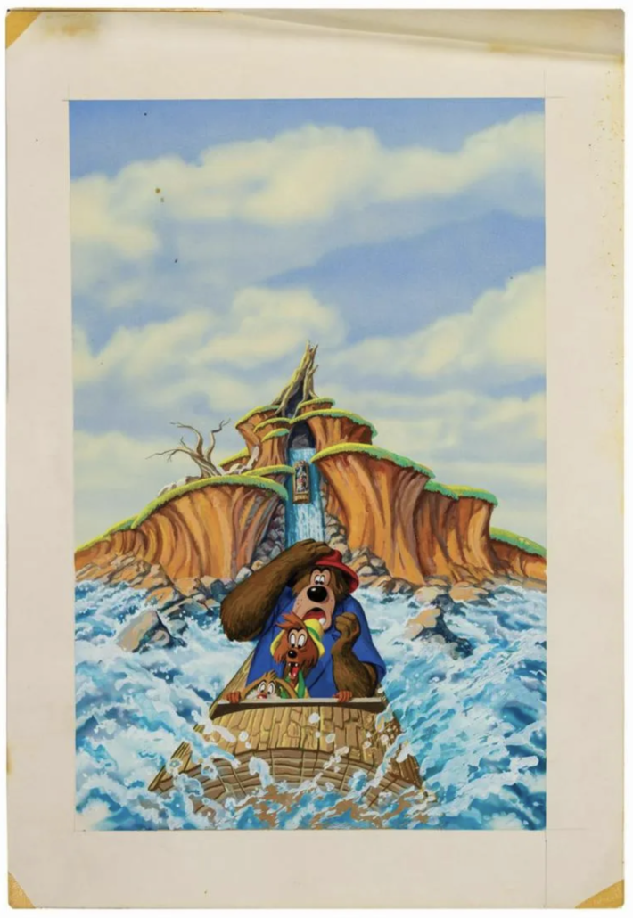 Original Splash Mountain promotional painting, estimated at $3,000-$5,000