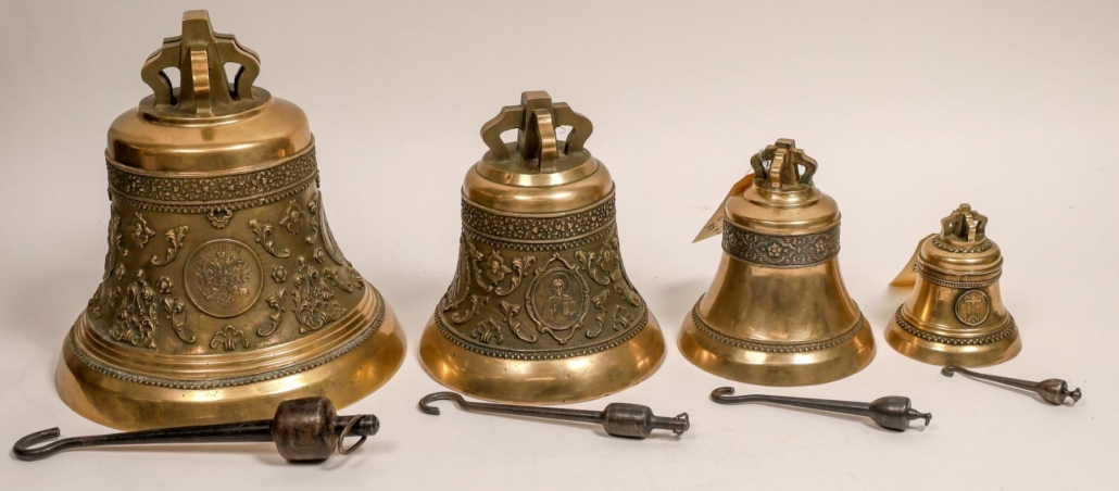 Group of four Russian Orthodox Church bishop's bells, which sold for $3,250