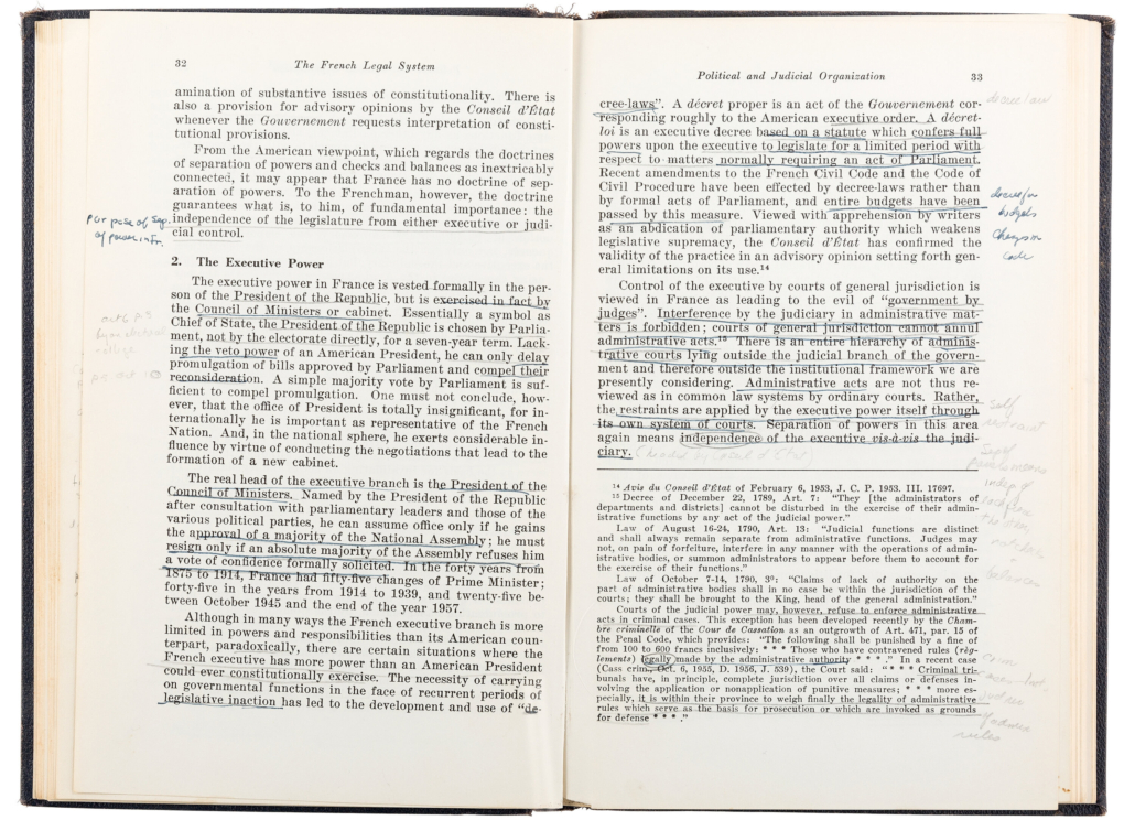 Ruth Bader Ginsburg made many handwritten notes in this law school textbook about the French legal system.