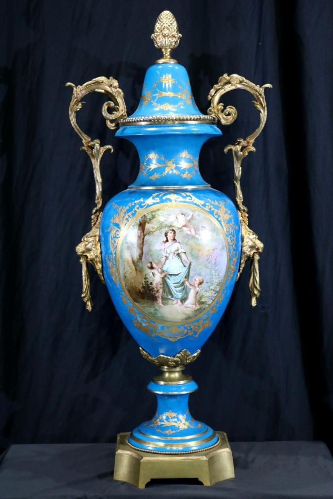 Royal blue three-part Sevres urn, estimated at $6,000-$12,000