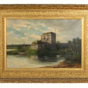 Oversize painting of a Floridian fort by Frank Henry Shapleigh, estimated at $20,000-$30,000