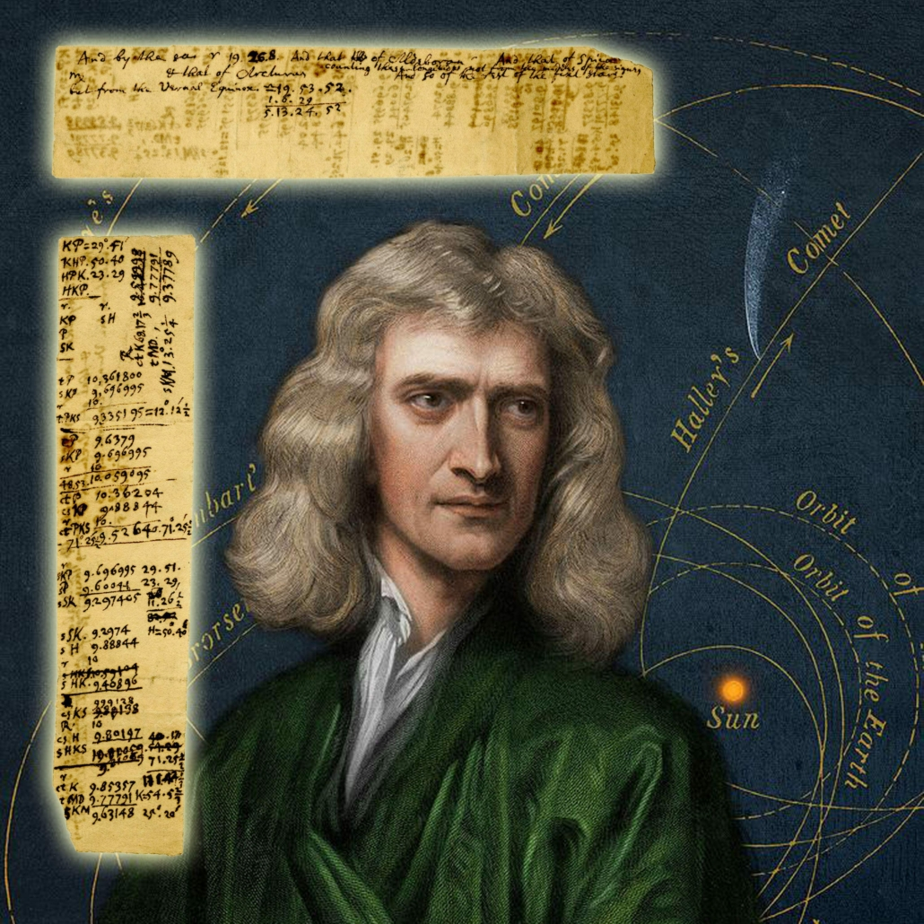 Sir Isaac Newton's handwritten notes and calculations, estimated at $100,000-$150,000