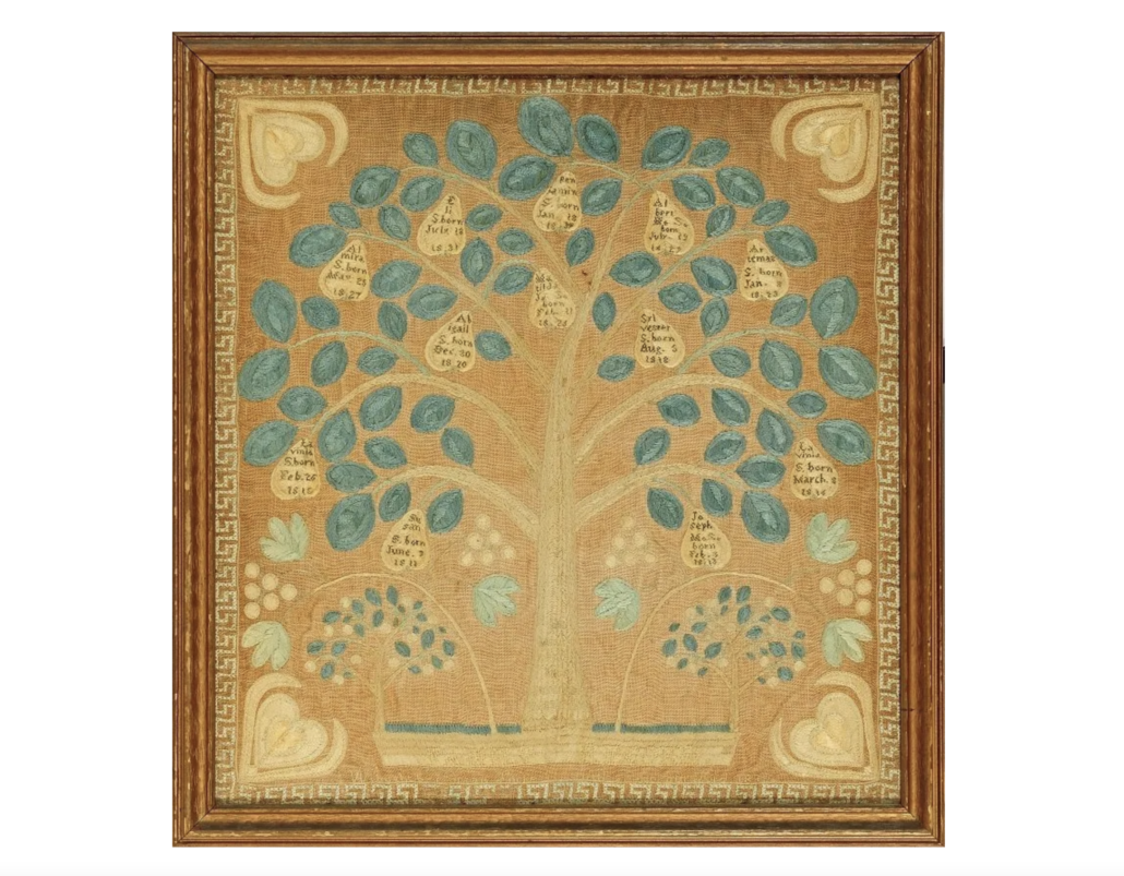 1845 sampler stitched by Susan Locke of Lexington, Massachusetts, estimated at $3,000-$3,500