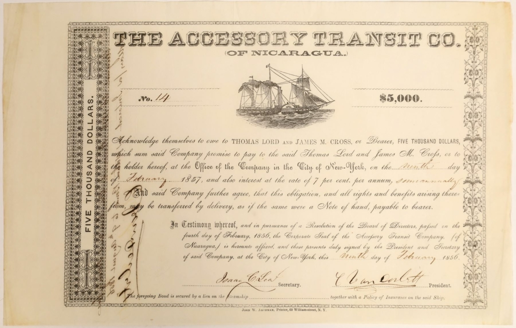 Bond certificate, signed front and back by Cornelius Vanderbilt, which sold for $11,250