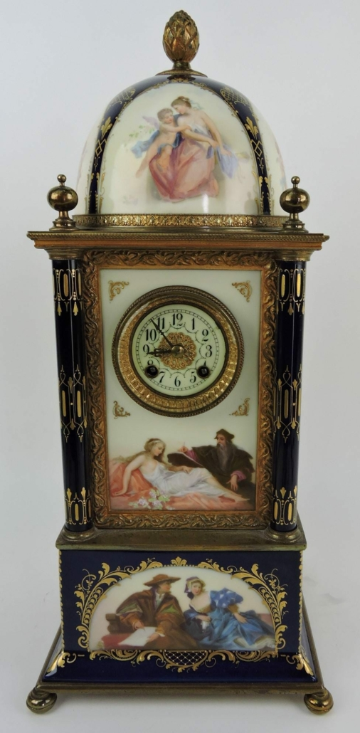 Vienna porcelain clock with dome, estimated at $3,000-$5,000