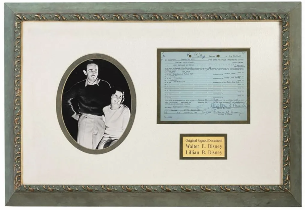 Walt and Lillian Disney-signed loan-related document, $3,000-$5,000