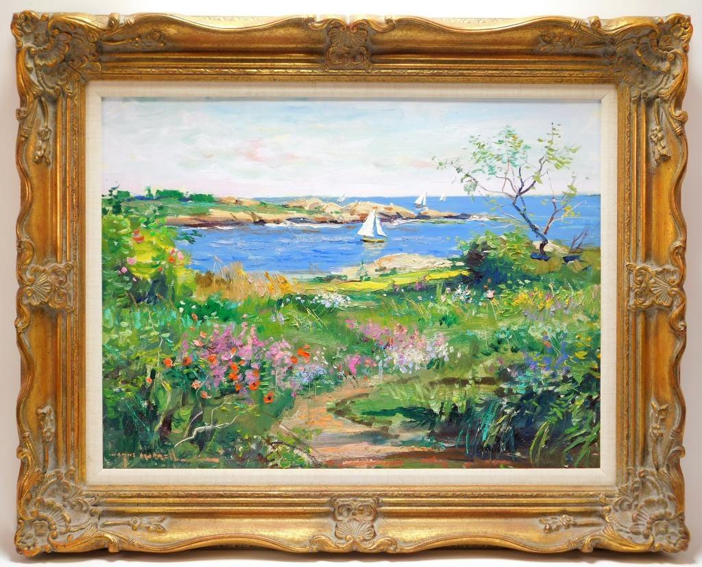 Wayne Morrell Impressionist coastal painting, estimated at $2,000-$3,000