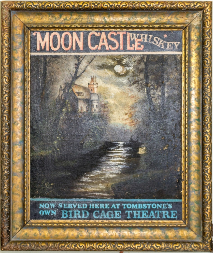 Advertising painting for Moon Castle Whiskey, which sold for $3,875