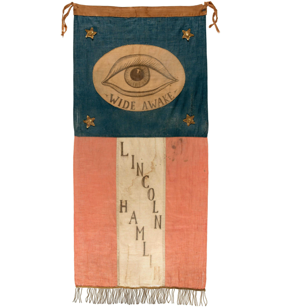 This hand-painted, hand-stitched 1860 Abraham Lincoln and Hannibal Hamlin parade banner sold for $143,104 at Hake's in February 2021 – the highest auction price ever achieved for a Lincoln textile.