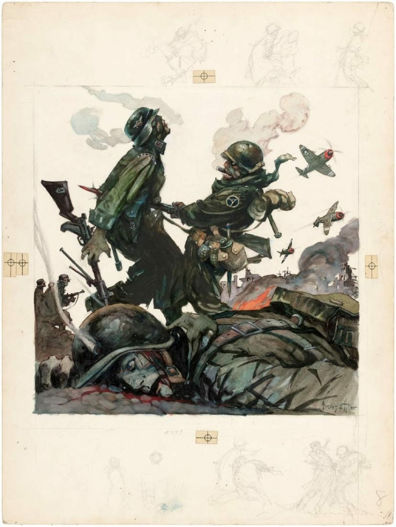 'Blazing Combat' told war stories in both contemporary and period settings, centered by a deeply personal theme of the personal costs of war. Frank Frazetta did the original cover artwork shown here.