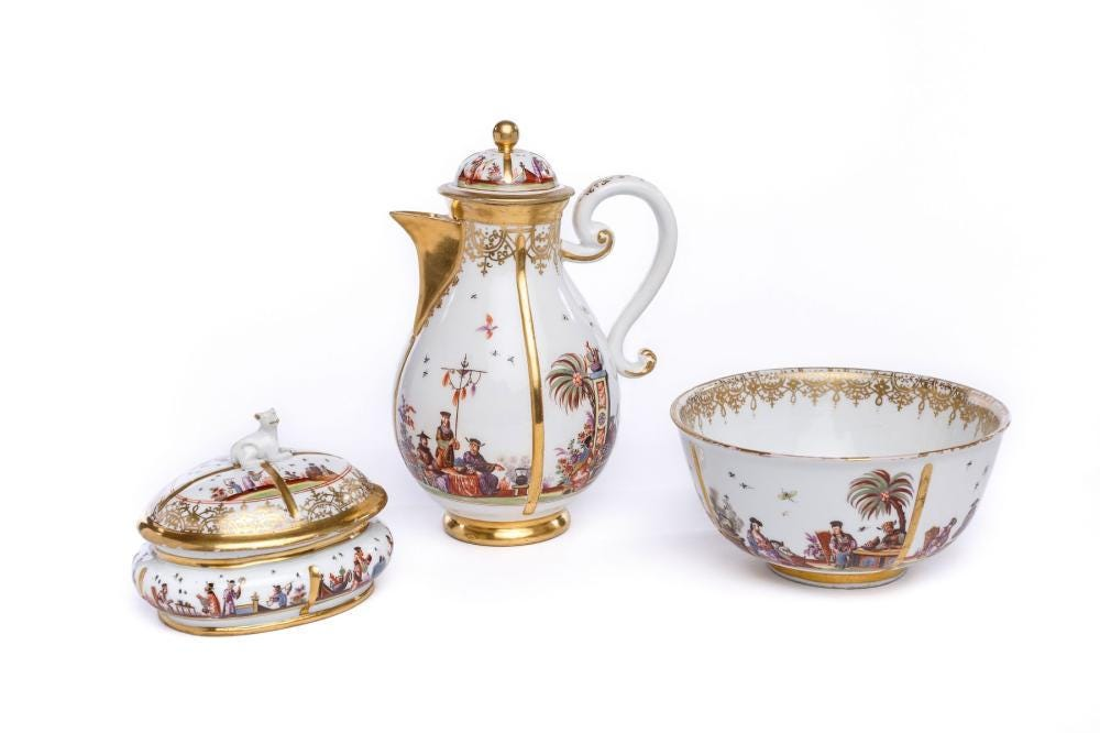 This Meissen coffee service with chinoiserie scenes realized $29,326 plus the buyer's premium in December 2020 at Amadeus Auction.