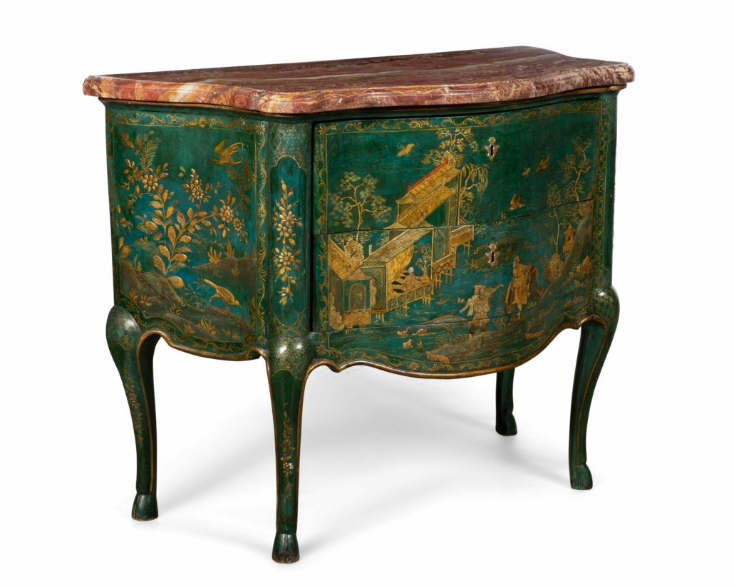 A North Italian rococo chinoiserie commode sold for $22,000 plus the buyer's premium in February 2020 at Andrew Jones Auctions.