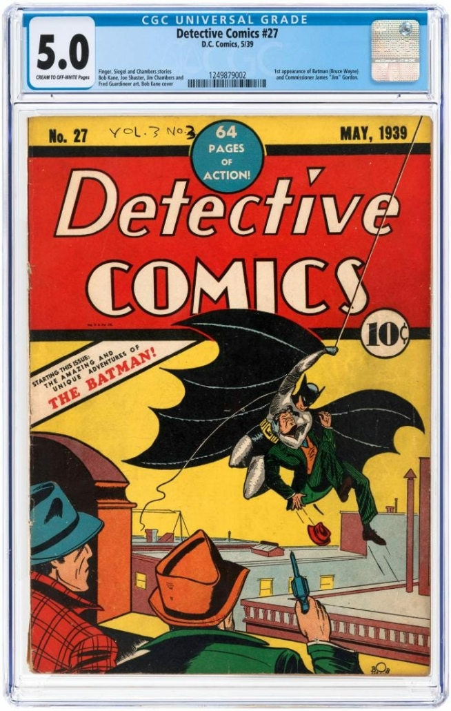 Hake's sold a copy of 'Detective Comics' #27 for $569,273 in March 2018. This comic book marked the first appearance of Batman.