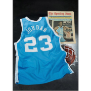Michael Jordan's University of North Carolina jersey from his 1982-83 NCAA Player of the Year season, which sold for more than $1.38 million
