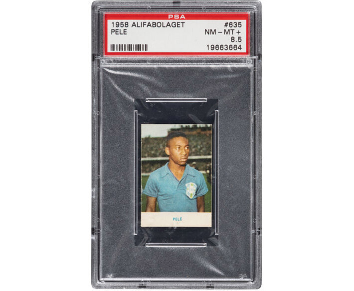 1958 Alifabolaget Pele card, graded PSA NM-MT+ 8.5, which sold for $372,000