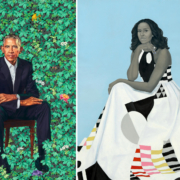 Left: Kehinde Wiley, 'Barack Obama,' a 2018 oil on canvas from the National Portrait Gallery, Smithsonian Institution, © 2018 Kehinde Wiley | Right: Amy Sherald, detail of 'Michelle LaVaughn Robinson Obama' a 2018 oil on linen from the National Portrait Gallery, Smithsonian Institution. The National Portrait Gallery is grateful to the generous donors who made these commissions possible and proudly recognizes them at npg.si.edu/obamaportraitstour. Support for the national tour has been generously provided by Bank of America.