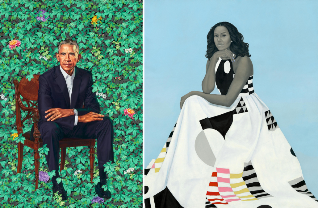 """Left: Kehinde Wiley, """"Barack Obama"""" (2018), oil on canvas, National Portrait Gallery, Smithsonian Institution, © 2018 Kehinde Wiley 