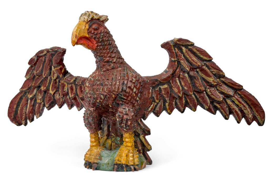 This Wilhelm Schimmel carved spread-winged eagle attained $48,000 plus the buyer's premium in October 2019 at Pook and Pook.