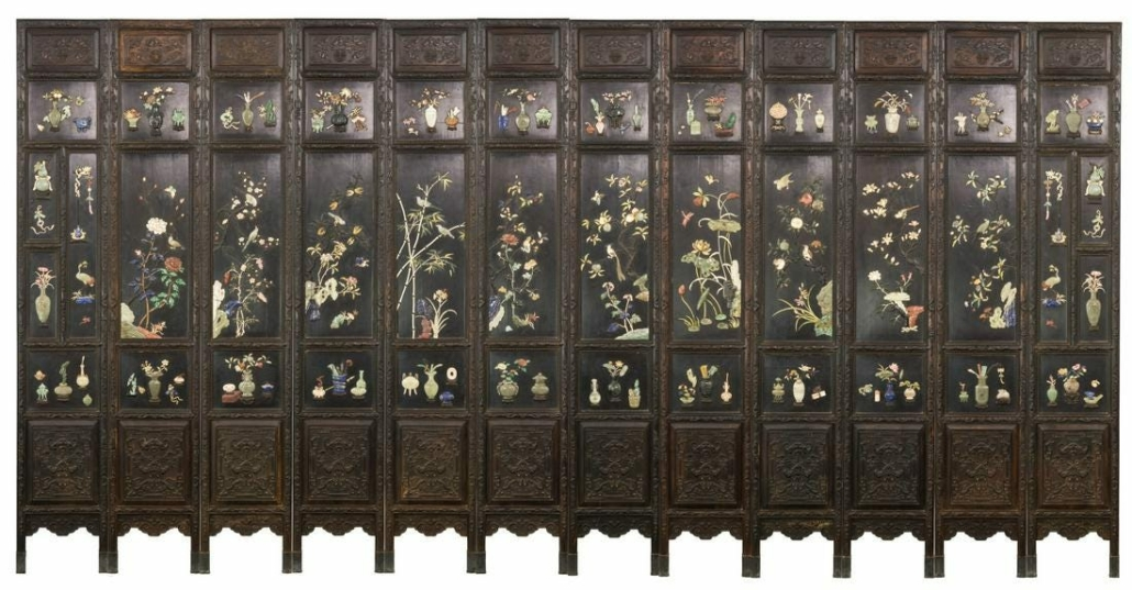 A gem-inlaid 12-panel zitan screen realized $285,000 plus the buyer's premium in September 2020 at Golden State Auction Gallery, Inc.