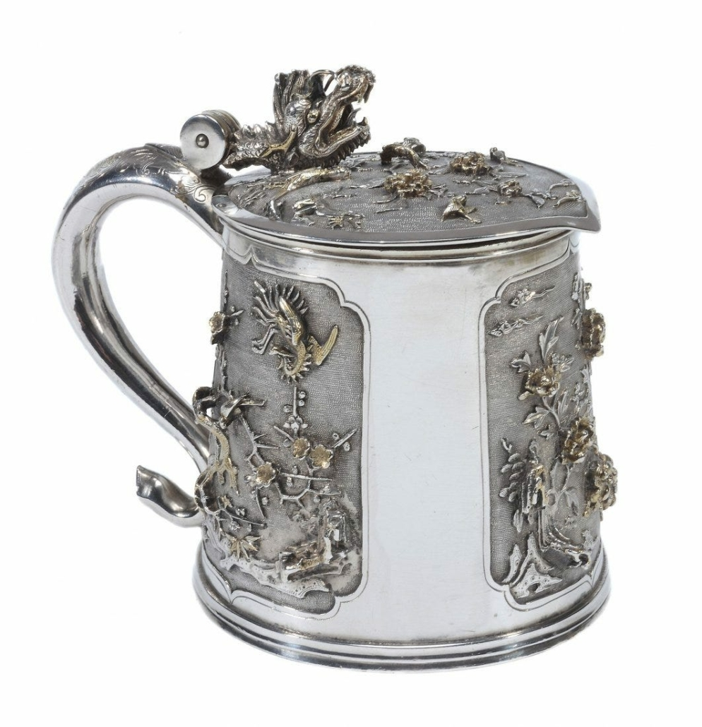 A late 17th century gilt chinoiserie silver tankard sold for $51,057 plus the buyer's premium in July 2016 at Dreweatts Donnington Priory.