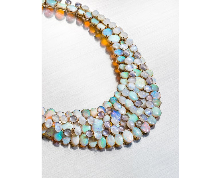 Tony Duquette opal, rock crystal, and moonstone necklace, estimated at $12,000-$18,000
