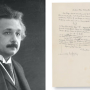 Albert Einstein pictured alongside the letter containing his famous equation, which sold for $1.2 million