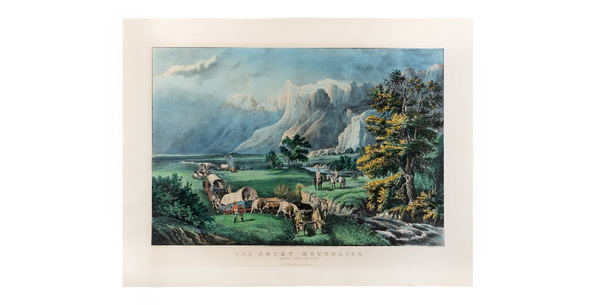 'Westward the Course of Empire Takes its Way,' printed by Currier and Ives and estimated at $7,000-$10,000