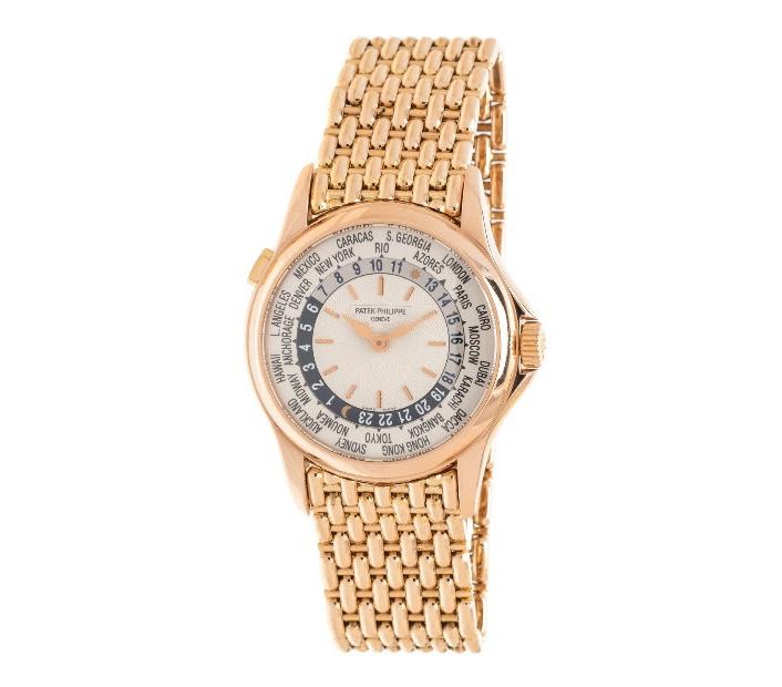 Patek Philippe 18k Pink Gold Worldtime' wristwatch, estimated at $15,000-$25,000