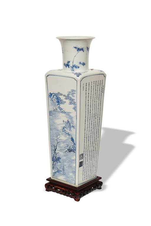 Chinese square vase from the Kangxi period, estimated at $27,000-$35,000