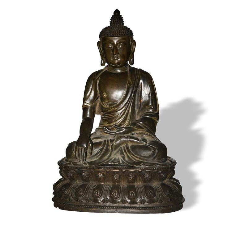 Chinese bronze Shakyamuni Buddha, estimated at $30,000-$40,000