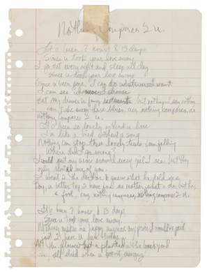 'Nothing Compares 2 U' lyrics, handwritten by Prince, sell for $150K