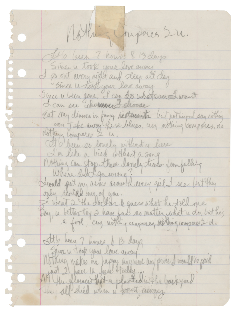 Lyrics for 'Nothing Compares 2 U,' handwritten by Prince, which sold for $150,986