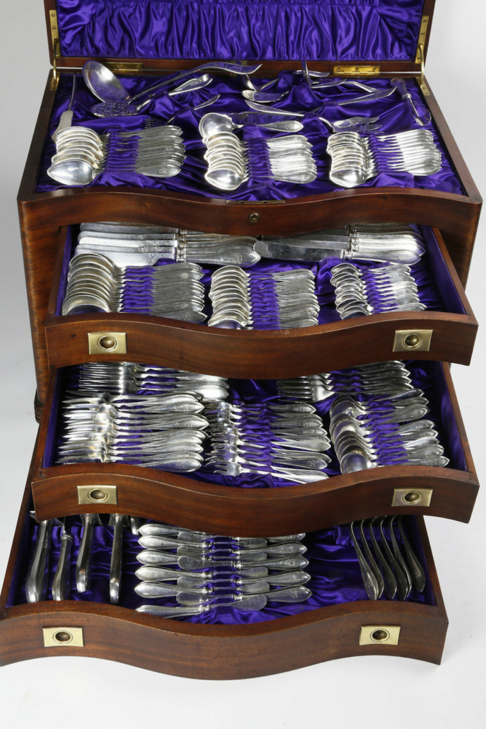 International Sterling Silver flatware service in the Puritan pattern, estimated at $5,000-$7,000